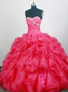 New Sweetheart Quinceanera Gown with Appliques and Beading in Hot pink