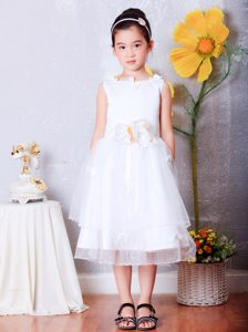 White Tea-length Organza Flower Girl Dress Decorated
