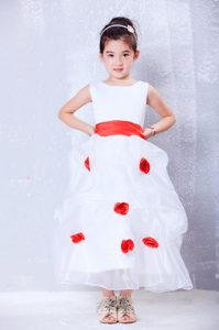 White and Red Organza and Flower Girl Dresses