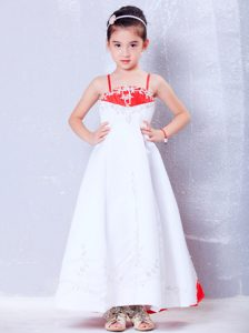 White and Red Satin Little Flower Girl Dress with Embroidery Decorated on Sale