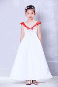 White and Red A-line Scoop Ankle-length Dress for Flower Girls with Embroidery