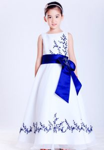 Modern White and Blue Satin and Organza Little Flower Girl Dress with Embroidery