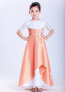 White and Orange Ankle-length and Organza Appliques Flower Girl Dress