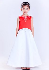 White and Red A-line V-neck Ankle-length Bow Embroidery Flower Girl Dresses