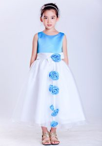 Cute White and Baby Blue Tea-length and Organza Dress for Flower Girl