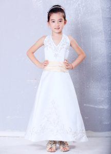 Hot White Halter Top Ankle-length Satin Flower Girl Dress with Embroidery