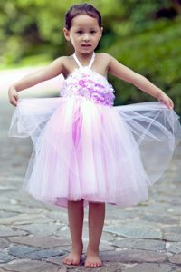 New Pink A-line Halter Top Knee-length Tulle Dresses for Flower Girl on Promotion