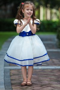 Blue and White Knee-length and Organza Little Flower Girl Dress with Bow