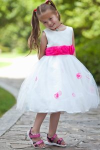 White Tea-length and Tulle Flower Girl Dresses