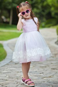 Pink Ball Gown Scoop Tea-length Dress for Flower Girl with Appliques for Cheap