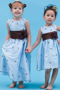 Baby Blue Flower Girl Dress with Sash and Hand Made Flower for Cheap