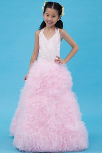 Baby Pink A-line Halter Top Tulle Beaded Little Flower Girl Dress on Promotion