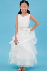 Cute A-line Scoop Ankle-length Organza Sash Litter Flower Girl Dress for Cheap