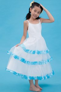 Blue and White A-line Straps Ankle-length Organza Ruched Flower Girl Dresses