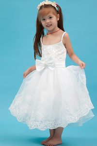 Beautiful White A-line Straps Ankle-length Organza Flower Girl Dress with Bows