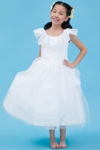 Pretty White A-line Scoop Ankle-length Tulle Lace Flower Girl Dress on Promotion
