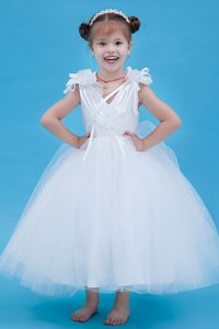 A-line V-neck Ankle-length Affordable White Flower Girl Dresses