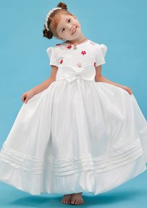 Cheap Long Sash Flower Girl Dresses with Scoop in White