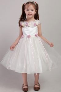 Square Tea-length Flowers Decorate Tulle Cute Flower Girl Dress in White