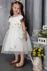 Princess Square Tea-length Flower Girl Dresses with Flowers on Promotion