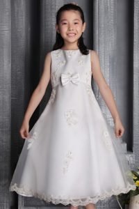 White A-line Cheap Scoop Beaded Tea-length Flower Girl Dress in Organza
