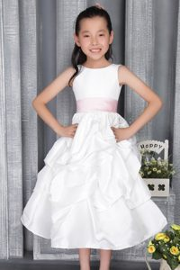 Princess Scoop Ankle-length Beautiful Flower Girl Dress with Belt
