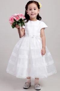 Cute White Princess Scoop Tea-length Flower Girl Dress and Lace
