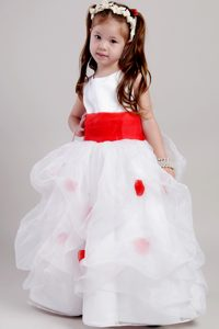and Organza Perfect Scoop Flower Girl Dresses in White and Red