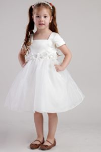 White A-line Square Flower Girl Dresses for Wholesale Price in Organza