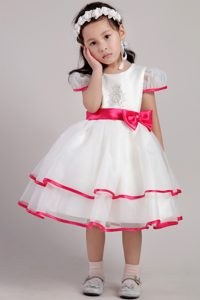 Custom Made White Princess Flower Girl Dress for Summer with Scoop