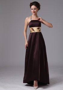 Spaghetti Straps Long Brown Formal Dama Dress with Yellow Sash