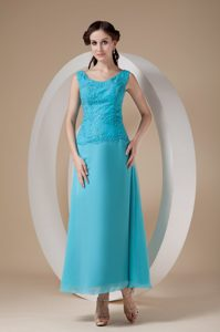 Scoop Ankle-length Aqua Blue Chiffon Dama Dress with Appliques for Less