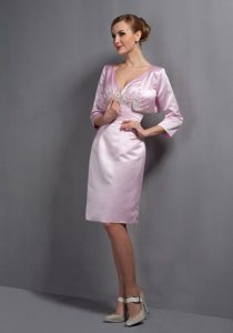 Baby Pink V-neck Knee-length Ruched Appliqued Dama Dresses with Jacket