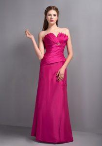 Hot Pink Shell Neckline Long Ruched Formal Dresses for Dama