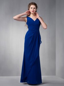 2014 Royal Blue V-neck Long Ruched Chiffon Formal Dress for Dama