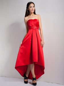 Strapless High-low Hot Red Ruched Dama Dresses with Beaded Waist