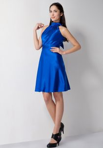 High-neck Knee-length Royal Blue Ruched Formal Dresses for Dama