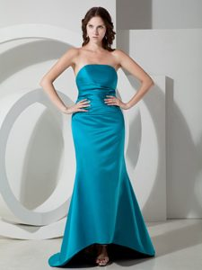 Popular Teal Strapless Brush Train Ruched Formal Dresses for Dama