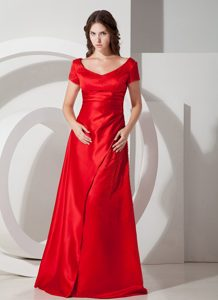 Wine Red Scoop Short Sleeves Long Ruched Formal Dresses for Dama