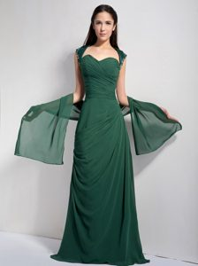 Hunter Green Brush Train Chiffon Party Dama Dress with Ruching and Shawl