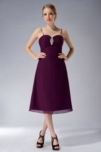 Spaghetti Straps Tea-length Dark Purple Chiffon Beaded Ruched Dama Dress