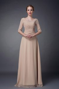 Scoop Half Sleeves Long Ruched Champagne Beaded Dama Dresses