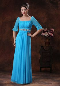 Square Half Sleeves Long Sky Blue Ruched Dama Dress with Beading
