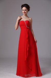 Strapless Long Red Ruched Beaded Formal Dresses for Dama