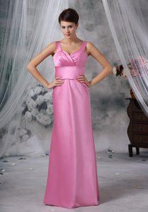 Best Rose Pink Straps Long Ruched Formal Dresses for Dama