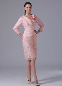 Best Baby Pink V-neck Long Sleeves Knee-length Dama Dress with Flowers