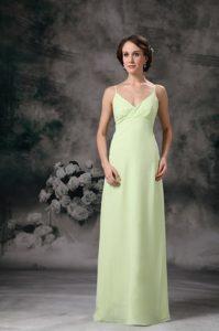 Apple Green Spaghetti Straps Long Ruched Chiffon Party Dama Dress