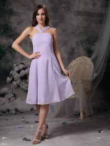 2014 Most Popular V-neck Lilac Tea-length Chiffon Bridesmaid Dama Dress
