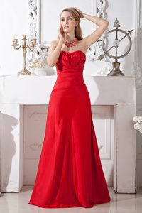Sweetheart Long Red Ruched Dama Quinceanera Dress on Sale