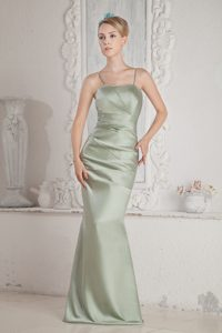 Spaghetti Straps Long Apple Green Ruched Party Dama Dress
